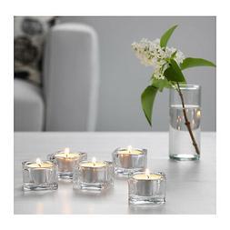 IKEA GLASIG Glass SQUARE Tea Light Holder Candle Holders Wed