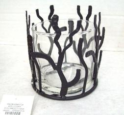 "Hosley  Glass & Wrought Iron Metal Candle Holder 4"" Tall Bla"
