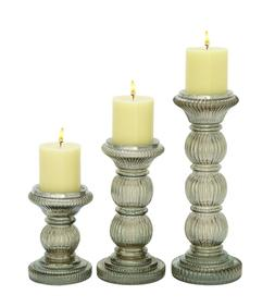 """Deco 79 Glass Candle Holder S/3 6""""/9""""/12"""" H-24648, 6""""/9""""/12"""""""