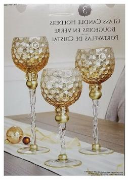 glass candle holders set of 3 distressed