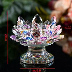 Glass Crystal Lotus Tealight Candle Holder Candlestick Buddh