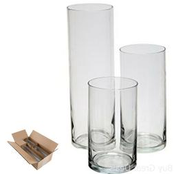 Royal Imports Glass Cylinder Vases Set of 3 Decorative Cente