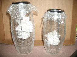 HOME INTERIORS Glass Floating CANDLE HOLDERS SET OF 2 tea li