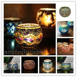 Glass Mosaic Candle holder Handmade Home Decor Romantic Colo