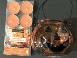 Glass Halloween Pumpkin Votive Candle Holder 8 Pk Tea Light
