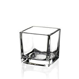 CYS EXCEL Cube Vase, Crystal Clear Glass Vase, Vase For Deco