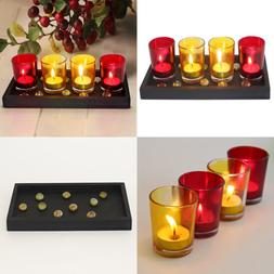 Glass Tealight Candle Holder Set Of 4 W Wooden Tray & T Ligh