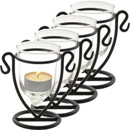 4 Pack Glass Tealight Candle Holders Bulk Set Wrought Iron H