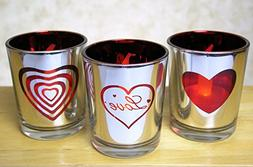 Heart and Love Candles - Set of 3 Silver Metallic Votive Can