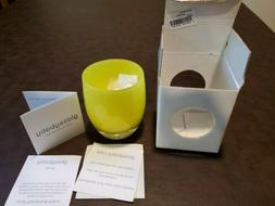 Glassybaby glass votive holder canary color unused