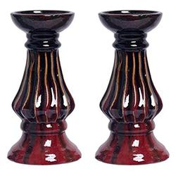 "Hosley Set of 2-9"" High Ceramic Pillar Candle Holder, Red Gl"