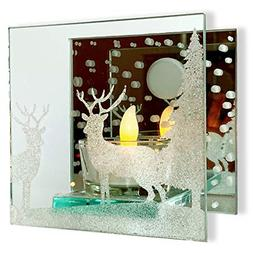 BANBERRY DESIGNS Glitter Deer in the Moonlit Woods Candle Ho