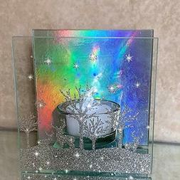 BANBERRY DESIGNS Glitter Holographic Candle Holder Rainbow H