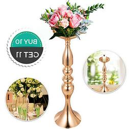 Gold Centerpieces for Wedding Candle Holder 11pcs Flower Rac