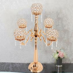 Gold Candle Holders 5-Arm Candlestick Wedding Pillar Crystal