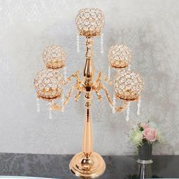5 Arm Gold Crystal Candelabra Wedding Centerpieces Votive Ca