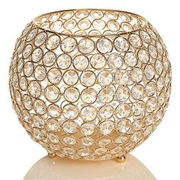 VINCIGANT Gold Crystal Bowl Candle Holders Centerpieces for