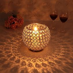 Gold Crystal Bowl Candle Holder for Coffee Table Mantle Deco