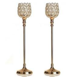 VINCIGANT Gold Crystal Candle Holder Set of 2 for Wedding Ho