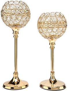 Easeurlife Gold Crystal Candle Holders Set of 2 Pack