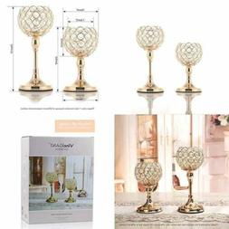 VINCIGANT GOLD Crystal Candle Holders Set Of 2/Modern Weddin