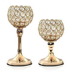 VINCIGANT Gold Crystal Candle Holders Set of 2/Modern Weddin