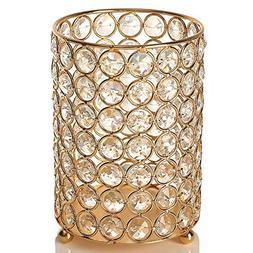 VINCIGANT Valentines Day Gold Crystal Votive Candle Holders