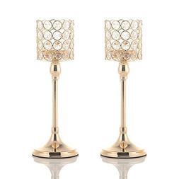 VINCIGANT Gold Crystal Cylinder Candle Holders Set of 2 for