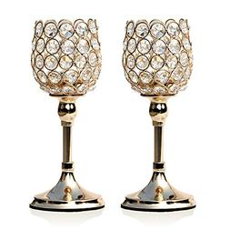 VINCIGANT Gold Crystal Pillar Candle Holder Set of 2 Table C
