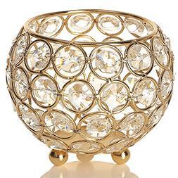 VINCIGANT Gold Crystal Tea Light Candle Holders/Wedding Coff
