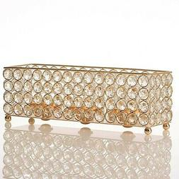 VINCIGANT Gold Crystal Tealight Candle Holders Tray for Dinn