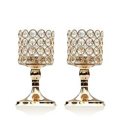 VINCIGANT Gold Cylinder Crystal Tea Light Candle Holders for