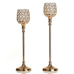VINCIGANT Gold Decorative Candle Holders Set of 2 - Home Dec