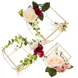 Ling's moment Set of 3 Gold Geometric Centerpieces Decor for
