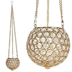 VINCIGANT Gold Hanging Pendant Candle Lantern Holder for Din