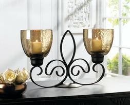 gold hurricane black iron scrollwork Candle holder candelabr