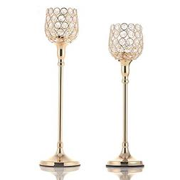 VINCIGANT Gold Pillar Candle Holders Set of 2 for New Year W
