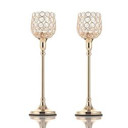 VINCIGANT Gold Pillar Crystal Tea Light Candle Holders Set o