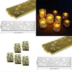CozyT 50 PACK Gold Tea Light Votive Wraps Paper Candle Holde