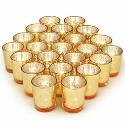 Volens Gold Votive Candle Holders, Mercury Glass Tealight Ca