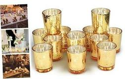 Gold Votive Candle Holders Bulk, Mercury Glass Tealight Cand