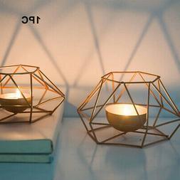Golden Geometric Iron Tea Light Candle Holder Wedding Kitche