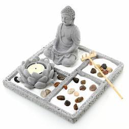Gray Cement Zen Buddha Statue Garden Set with Lotus Tealight