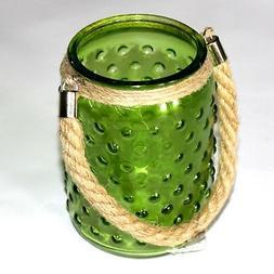 "GREEN* 6""x4"" GLASS JAR Hanging CANDLE HOLDER/LANTERN Hobnail"