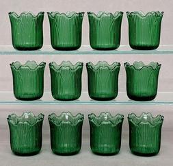 "Green Glass Votive Candle Holder Tea Light Tulip Shape 2.25"""