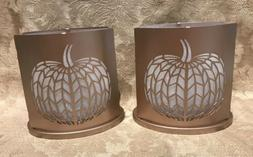 Yankee Candle  GREEN PLAID LARGE/ MED JAR CANDLE SHADE & PLA