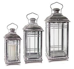Set of 3 Grey Mission Style Pillar Candle Lanterns with Whit