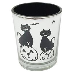 Just Artifacts Halloween Silver Glass Votive Candle Holder w