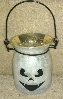 YANKEE CANDLE HALLOWEEN WHITE CRACKLE GLASS JACK O LANTERN T