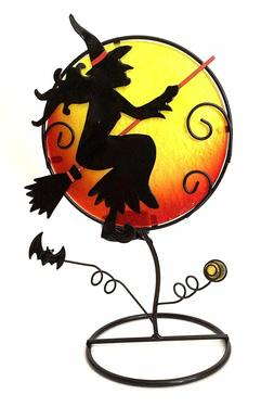 Halloween Witch with Color Glass Candle Holder & Home Decor